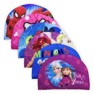 Kids Girls Boys Disney Swim Cap Elastic Edge Colourful Children Swimming Wear