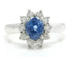 2.10Ct Natural Ceylon Sapphire and Diamonds in 18K Solid White Gold Women's Ring