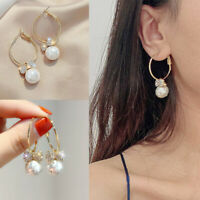 A Pair/set Gorgeous 18k Yellow Gold Plated Drop Earrings for Women White Pearl