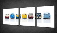 COLOURFUL VW CAMPER VAN CARS 3 PANELS WALL ART CANVAS PRINT READY TO HANG