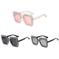 Fashion Women Oversize Square Frame Bling Rhinestone Sunglasses Shades Gift