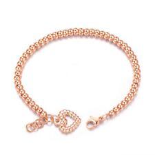 AZZURRE Women's 18K Rose Gold Filled Bead Ball Heart Charm Bangle Bracelet