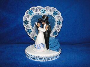 NEW HEART DECOR dark skin BRIDE AND  Western GROOM FIGURINE CAKETOPPER, 2 COLORS