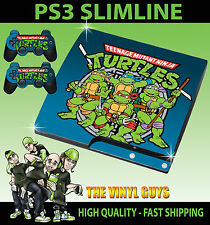 PLAYSTATION PS3 SLIM CLASSIC TEENAGE MUTANT RETRO TURTLE 90'S SKIN & 2 PAD SKINS