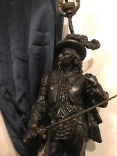 "Antique Massive & Detail Black Enamel Spelter Metal Cavalier 25""T Post Lamp NR"