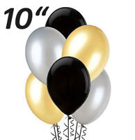 "Black Silver Gold Latex 10"" PEARL Balloons helium quality birthday wedding party"
