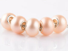 NEW 5pcs silver pearl apricot spacer beads fit Charm European Bracelet DIY #E925