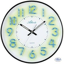 Atlanta 47 Reloj De Pared Cuarzo Negro Blanco números LUMINISCENTES oficina