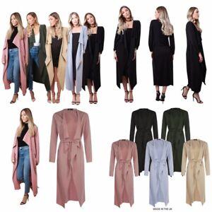 Womens Ladies Long Sleeve Belted Maxi Midi Waterfall Duster Jacket Coat Cardigan