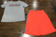 Boy Under Armour Outfit Shorts Shirt Neon Gray Ylg School See Others