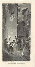 Stampa antica ROMA Trastevere Vendita dei Broccoli 1880 Old print Engraving