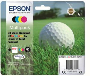 Genuine Epson 34, 34XL Multipack Golf BaIl Ink Black & (Cyan Magenta Yellow XL)