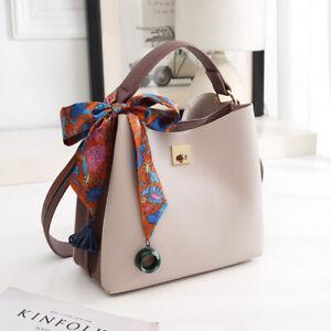 Women Faux Leather Handbag Medium Ladies Designer Barrel Shoulder Bag With Scarf