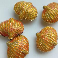 5 cuentas de cloisonné, Salmón Rosa/dorado. Shell, 20 mm fabricación de joyas/Crafts