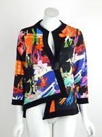 Joseph Ribkoff Jacket Asymmetric Button Front 3/4 Sleeves Floral Black Sz 8 New