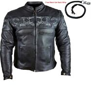 MEN'S MOTORCYCLE GENUINE LEATHER JACKET REFLECTIVE SKULLS  2 DEEP GUN POCKETS