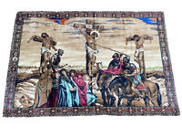 """Vintage Religious Jesus Christ Crucifixion Wall Tapestry 73.5""""Tx48""""W"""