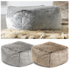 icon Luxury Faux Fur Pouffe  Footstool Square Bean Bag Lightweight Stool Seat
