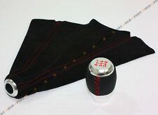 FOR 1988-14 HONDA CIVIC LEATHER CHROME 5 SPEED SHIFT KNOB RED STITCH+SUEDE BOOT