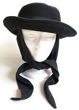 NWT Vintage IMPORTINA Black Scarf Attached Doeskin Wool Felt Hat BOLLMAN Womens