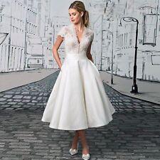 White/ivory Tea length Wedding Dresses V neck A Line Prom Formal Evening Gowns
