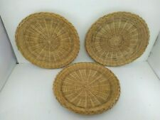 13 Wicker Rattan Bamboo Paper plate Holders Picnic Bbq Party Camping