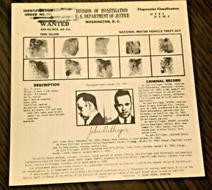 John Dillinger 1934 Fbi Original Wanted Notice - Poster For Law Enforcement