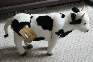 "Hansa Standing Cow Plush Toy - Black & White - 16"" Long - 2010 - New With Tags"