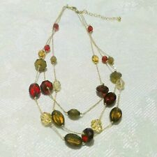 AVON Multi Strand Red Gold and Brown Acrylic Crystal Gold Tone Necklace