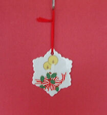 """Class Christmas Tree Ornament Decoration White Snowflake Painted Candle Holly 3"""""""