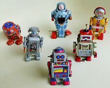 SPACE ROBOT LOT OF MECHANICAL WALKING TIN LITHOGRAPHED COLLECTIBLE TOY