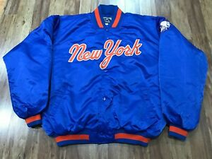 MENS 3XL - Vtg MLB New York Mets Majestic Sewn Quilted Fleece Lined Snap Jacket