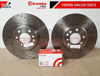 FOR GOLF R MK7 FRONT OE PERFORMANCE DRILLED BRAKE DISCS BREMBO PADS 340mm