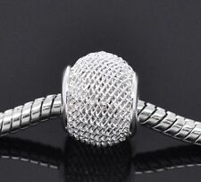 2 pcs Silver plated  Mesh Spacer Charms/ Beads. Fits European Bracelet. C91
