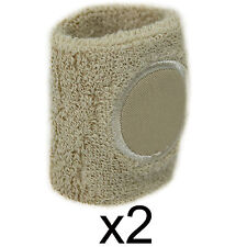 Sweat Band Wrist Gym Sports Wristband Pair Tennis Badminton Squash Elastic Cream