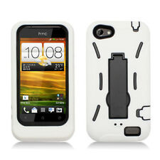HTC ONE V HYBRID HARD CASE SKIN COVER w STAND ACCESSORY WHITE BLACK