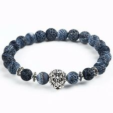 Blue Ash Spider Web Jasper Silver Lion Bead Bracelet