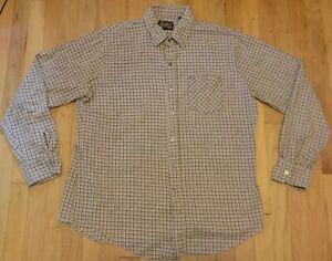 Vintage 70s Sears long sleeve tall shirt XL plaid brown tan XLT SportsWear