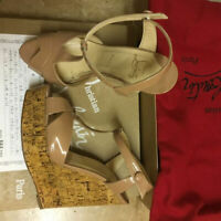CHRISTIAN LOUBOUTIN SANDALS Wedge Beige Patent Leather EU 38 / US 7.5 / UK 5