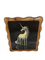 "VTG Intercraft 1980's Unicorn Wall Wood Art Decor Lacquered Plaque 11.5""x9.5"""