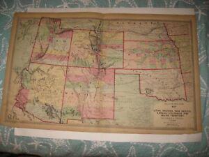 HUGE ANTIQUE 1872 UTAH COLORADO ARIZONA NEW MEXICO KANSAS TEXAS OKLAHOMA MAP NR