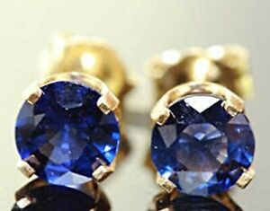 2.0ct Natural VS Blue Sapphire 14K Yellow Solid Gold Stud Earrings Diamond Alter