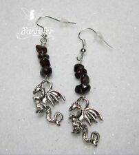 Hook Garnet Drop/Dangle Stone Costume Earrings