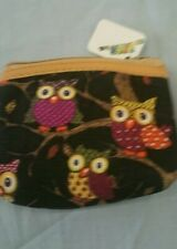 BLACK owl small coin purse with zip on the top