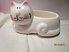 New listing Ceramic Whimsical Cat Planter Jamestown China Co. White Pink Ears & Nose Kitten