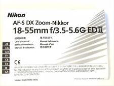 Nikon AF-S DX Zoom-Nikkor 18 55mm f/3.5-5.6G ED II original user manual