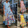 UK Womens Summer Short Sleeve Floral Printed Casual Loose Kaftan Long Maxi Dress