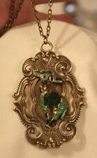 Gorgeous Slender Festooned Vintage Green Accented Deer Brasstone Necklace OB