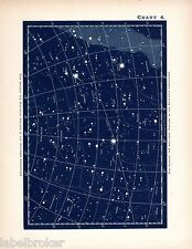ANTIQUE PRINT VINTAGE 1890 ASTRONOMY SCIENCE STAR CHART MAP CONSTELLATIONS 4