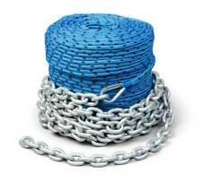 "Boat Trac Winch Rope and Chain 200' x 1/4"" rope 15' Galvanized Marine Chain"